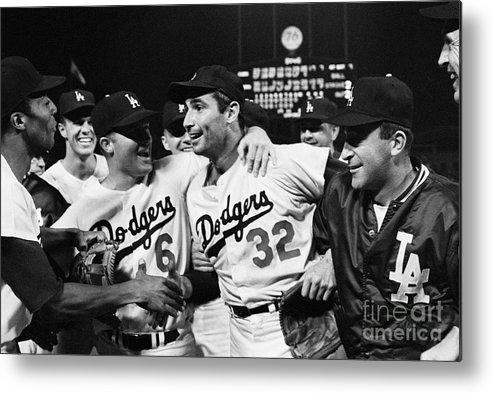 Sandy Koufax Metal Print featuring the photograph Dodgers Congratulating Sandy Koufax by Bettmann