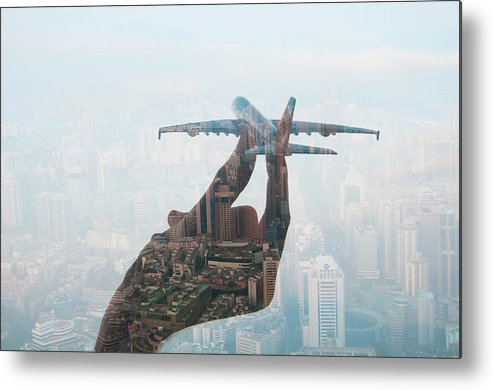 People Metal Print featuring the photograph Double Exposure Of Hand Holding Model by Jasper James
