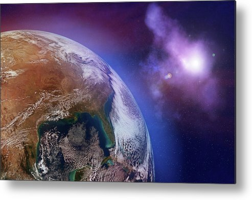 Globe Metal Print featuring the photograph Earth With Stars by Dem10