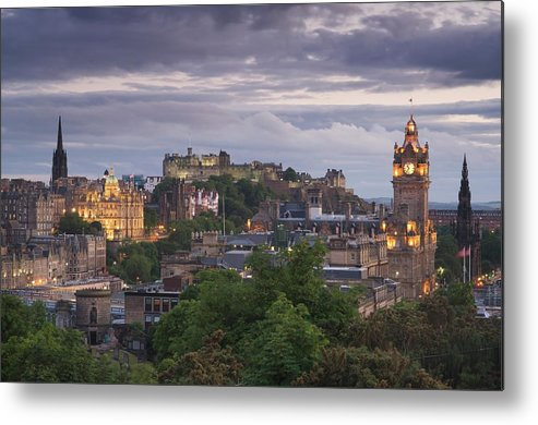 Lothian Metal Print featuring the photograph Edinburgh At Dusk by Northlightimages
