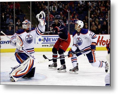 National Hockey League Metal Print featuring the photograph Edmonton Oilers V Columbus Blue Jackets by John Grieshop