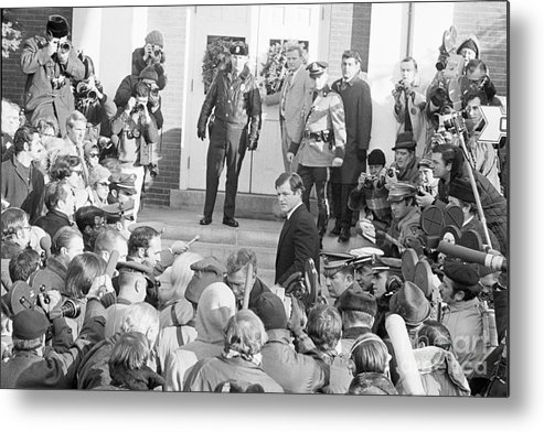 Crowd Of People Metal Print featuring the photograph Edward Kennedy Entering Courthouse Amid by Bettmann