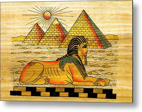 Ancient History Metal Print featuring the digital art Egyptian Souvenir Papyrus by Ewg3d