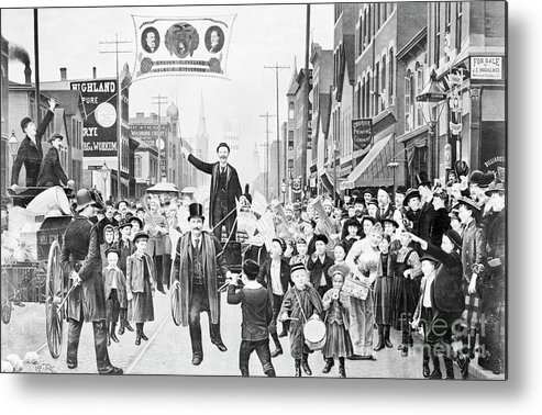 People Metal Print featuring the photograph Election Parade Lithograph Supporting by Bettmann