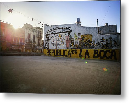 Empty Metal Print featuring the photograph Empty Soccer Field In La Boca by Just One Film