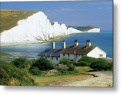 Scenics Metal Print featuring the photograph England, Sussex, Seven Sisters Cliffs by David C Tomlinson
