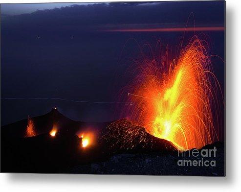 Non-urban Scene Metal Print featuring the photograph Eruption Of Stromboli Volcano, Italy by Francesco Sartori