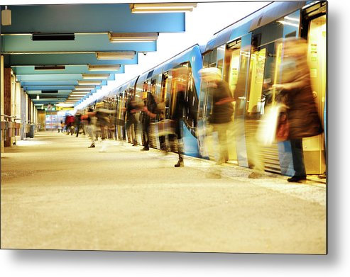 Crowd Metal Print featuring the photograph Exiting Subway Train by Olaser