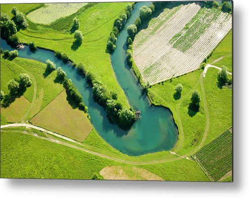 Scenics Metal Print featuring the photograph Farmland Patchwork, Aerial View by Vpopovic