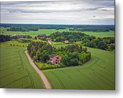 Scenics Metal Print featuring the photograph Farms And Fields In Sweden North Europe by Pavliha