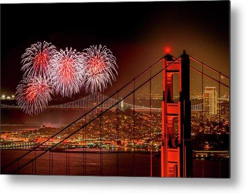 San Francisco Metal Print featuring the photograph Firework At San Francisco, California by Spondylolithesis