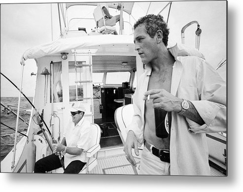 Timeincown Metal Print featuring the photograph Fishing With Paul Newman by Mark Kauffman