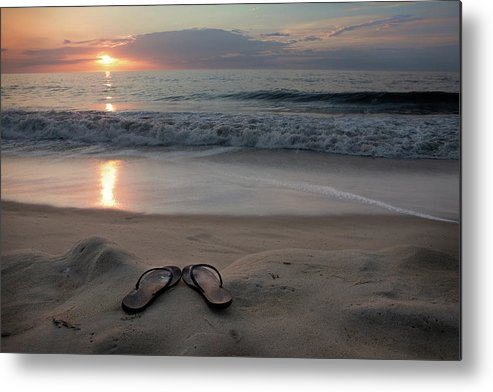 Water's Edge Metal Print featuring the photograph Flip-flops On The Beach by Sdominick