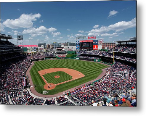 National League Baseball Metal Print featuring the photograph Florida Marlins V Washington Nationals by Joe Robbins