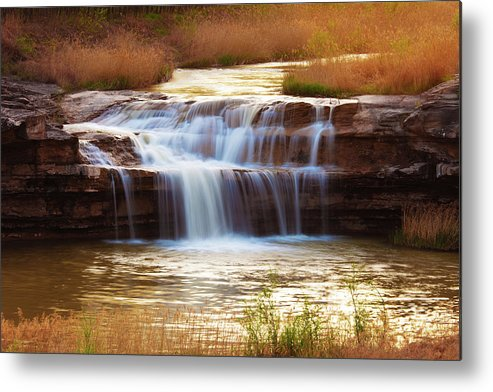 Scenics Metal Print featuring the photograph Flowing Water On The Yellow Rock by Xenotar