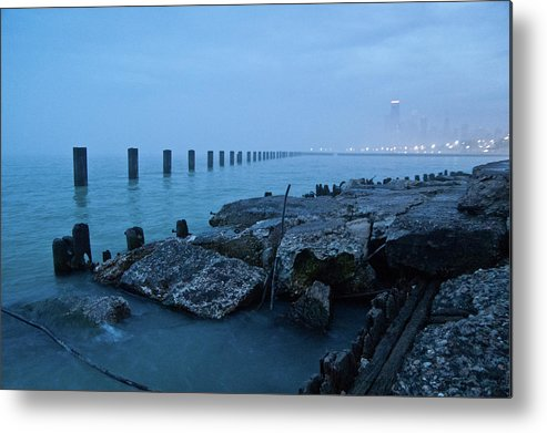 Lake Michigan Metal Print featuring the photograph Foggy View Of Chicago From Lakeshore by Megan Ahrens