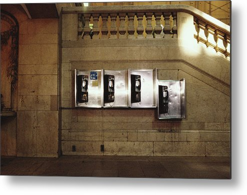 Pay Phone Metal Print featuring the photograph Four Telephone Booths On Marble Wall by Herb Schmitz