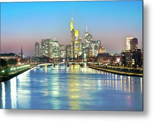 Hesse Metal Print featuring the photograph Frankfurt Night Skyline by Ixefra
