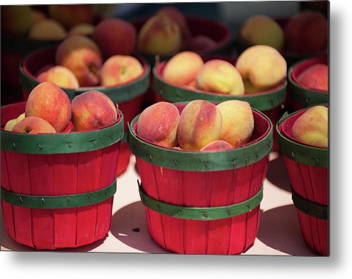 Retail Metal Print featuring the photograph Fresh Texas Peaches In Colorful Baskets by Txphotoblog - Randy Ennis