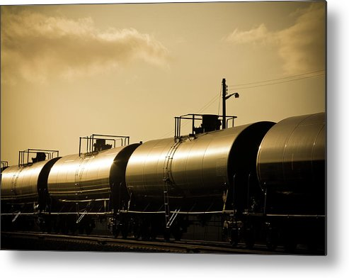 Natural Gas Metal Print featuring the photograph Gasoline Train At Sunset by Halbergman