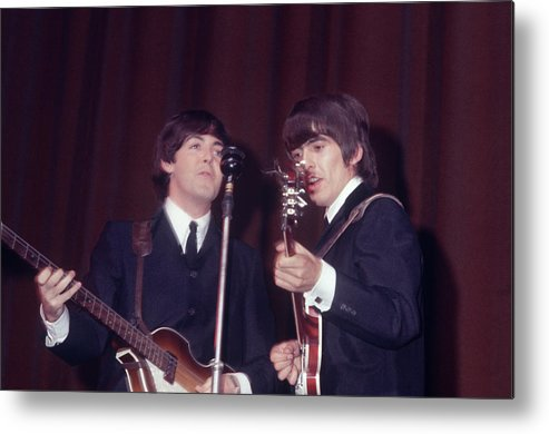 Paul Mccartney Metal Print featuring the photograph George Harrison, Paul Mccartney by Art Zelin