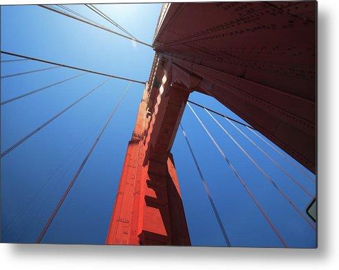 San Francisco Metal Print featuring the photograph Golden Gate Bridge Tower by Mortonphotographic