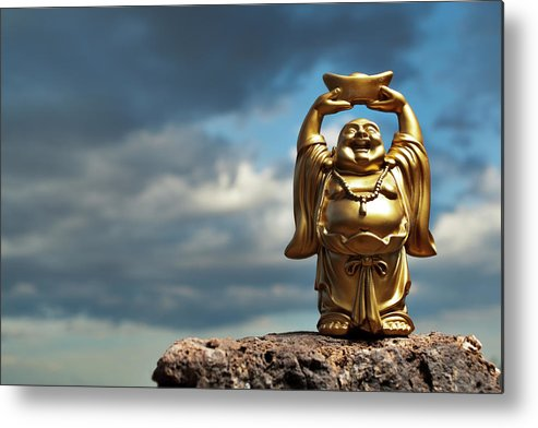 Chinese Culture Metal Print featuring the photograph Golden Prosperity Buddha by Wesvandinter