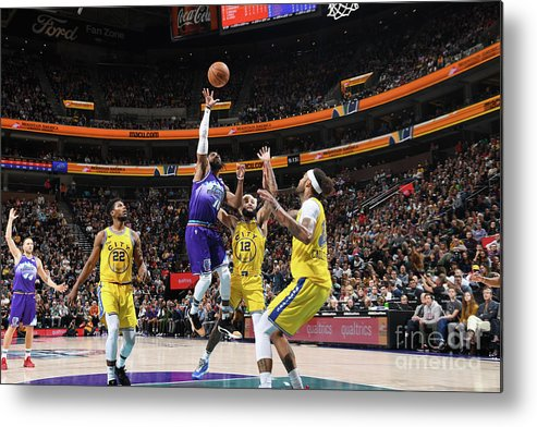 Nba Pro Basketball Metal Print featuring the photograph Golden State Warriors V Utah Jazz by Noah Graham
