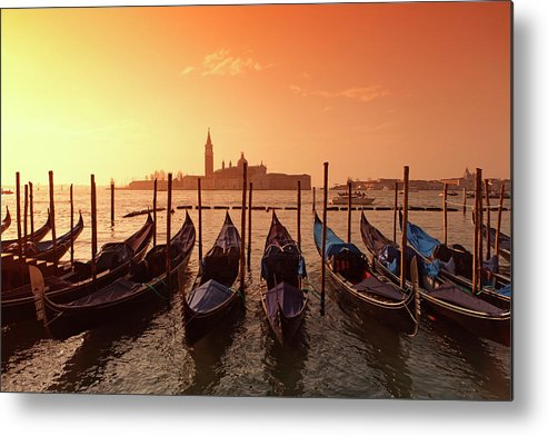 Scenics Metal Print featuring the photograph Gondolas And Saint George Major In by Massimo Pizzotti