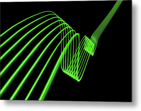Laser Metal Print featuring the photograph Green Abstract Coloured Lights Trails by John Rensten