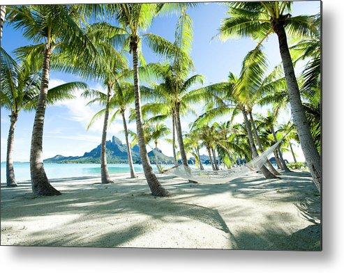 Hanging Metal Print featuring the photograph Hammock At Bora Bora, Tahiti by Yusuke Okada/amanaimagesrf