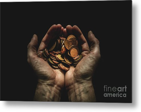 Coin Metal Print featuring the photograph Hands Holding Coins Against Black by Andy Kirby