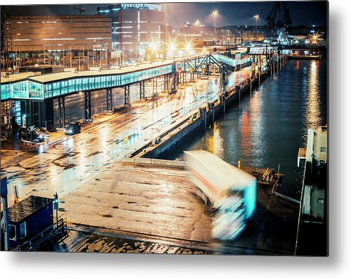 Industrial District Metal Print featuring the photograph Harbor Area by Peeterv