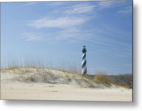 North Carolina Metal Print featuring the photograph Hatteras Lighthouse And The Dunes by Myhrcat