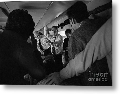 Event Metal Print featuring the photograph Henry Kissinger Talking With Journalists by Bettmann