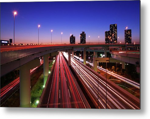 Two Lane Highway Metal Print featuring the photograph Highway At Night by Takuya Igarashi