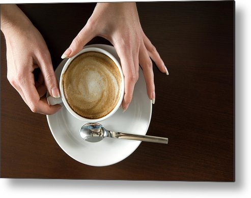 Spoon Metal Print featuring the photograph Holding Cappuccino by 1001nights