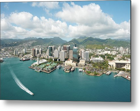 Honolulu Metal Print featuring the photograph Honolulu Skyline Shot From A Helicopter by 400tmax