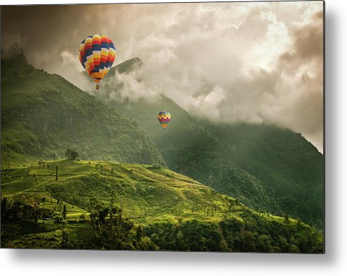 Tranquility Metal Print featuring the photograph Hot Air Balloons Over Tea Plantations by Nicolo Sertorio