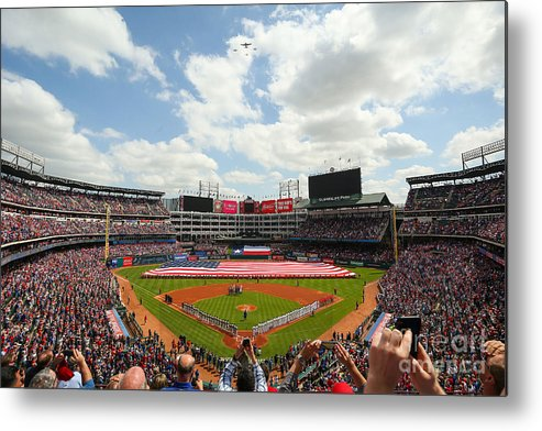 American League Baseball Metal Print featuring the photograph Houston Astros V Texas Rangers by Richard Rodriguez