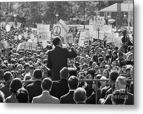 Crowd Of People Metal Print featuring the photograph Hubert Humphrey Speaking To Crowd by Bettmann