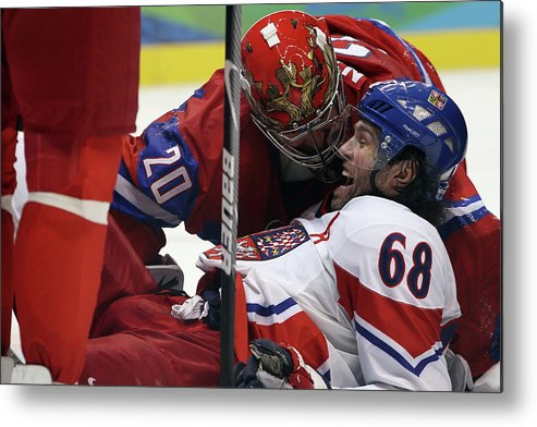 Rogers Arena Metal Print featuring the photograph Ice Hockey - Day 10 - Russia V Czech by Bruce Bennett