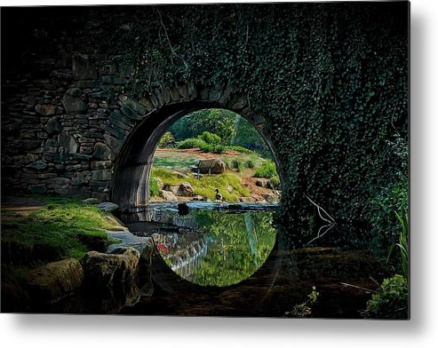 Bridge Metal Print featuring the photograph In the Middle of A Reflection by Zayne Diamond Photographic