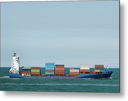 Freight Transportation Metal Print featuring the photograph Industrial Barge Carrying Containers by Mischa Keijser
