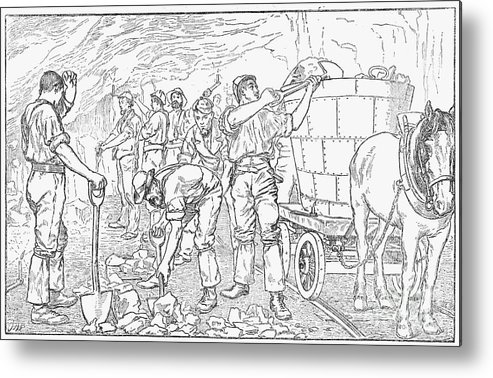 Horse Metal Print featuring the drawing Inside A Cheshire Salt Mine, 1889 by Print Collector