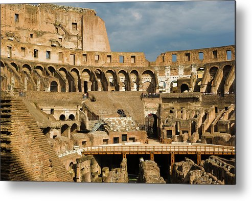 Arch Metal Print featuring the photograph Interior Of The Colosseum, Rome, Italy by Juan Silva