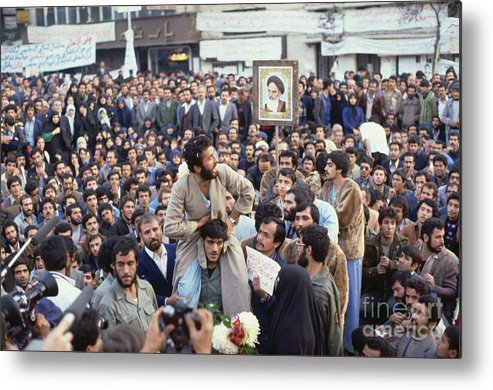 Crowd Of People Metal Print featuring the photograph Iranian Demonstrators Protesting by Bettmann