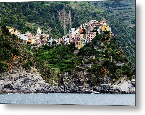 Town Metal Print featuring the photograph Italy, Liguria, Corniglia, View From by Jeremy Woodhouse