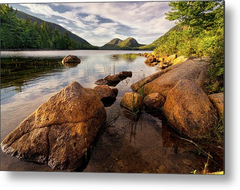 Scenics Metal Print featuring the photograph Jordan Pond Rocks by Www.cfwphotography.com