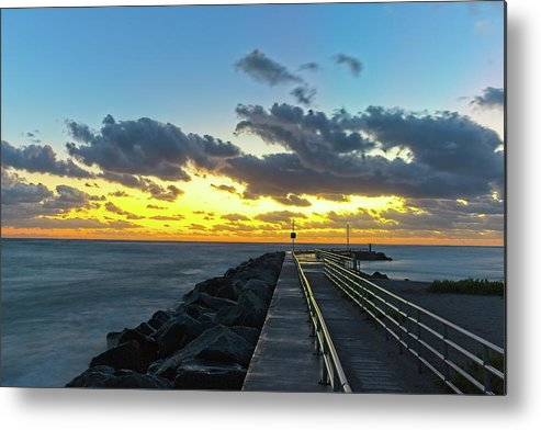 Seascape Metal Print featuring the photograph Jupiter Inlet Jetty 2 by Steve DaPonte